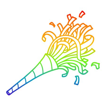 rainbow gradient line drawing of a cartoon party horn