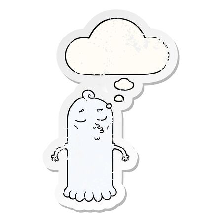 cartoon ghost with thought bubble as a distressed worn sticker