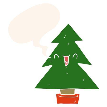 cartoon christmas tree with speech bubble in retro style