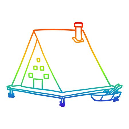 rainbow gradient line drawing of a cartoon lake house