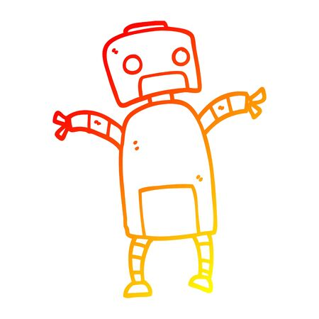 warm gradient line drawing of a cartoon robot dancing Illustration