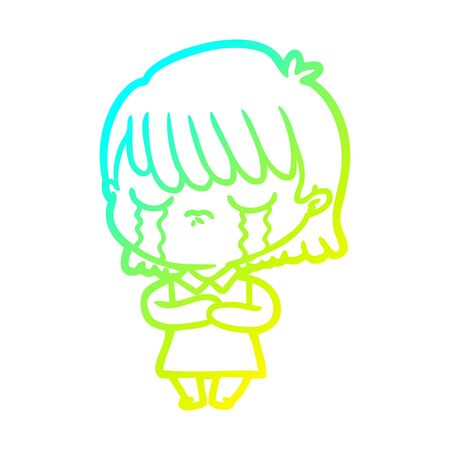 cold gradient line drawing of a cartoon woman crying Foto de archivo - 130009611