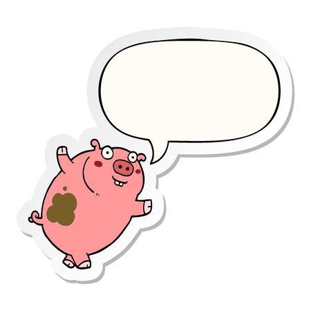 funny cartoon pig with speech bubble sticker Stok Fotoğraf - 129995082