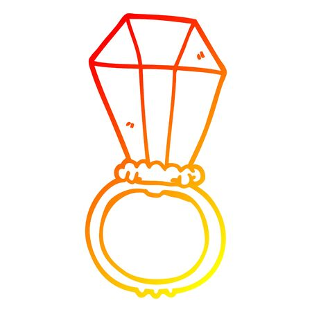 warm gradient line drawing of a cartoon engagement ring