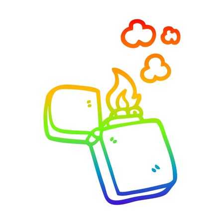 rainbow gradient line drawing of a cartoon old lighter 向量圖像