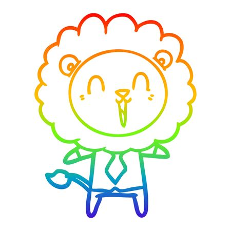 rainbow gradient line drawing of a laughing lion cartoon Иллюстрация