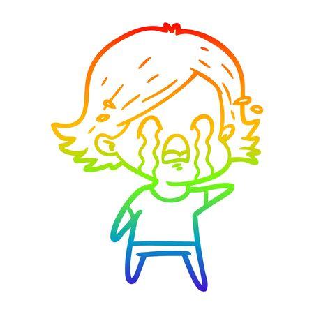 rainbow gradient line drawing of a cartoon woman crying Foto de archivo - 130009657