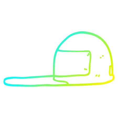 cold gradient line drawing of a cartoon cap
