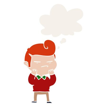 cartoon cool guy with fashion hair cut with thought bubble in retro style
