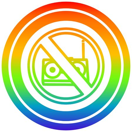 no music circular icon with rainbow gradient finish