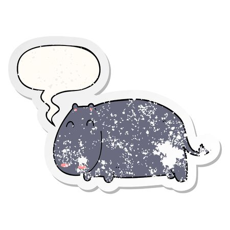 cartoon hippo with speech bubble distressed distressed old sticker