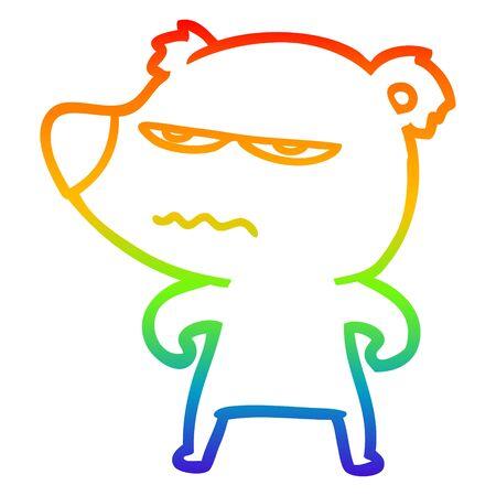 rainbow gradient line drawing of a angry bear polar cartoon
