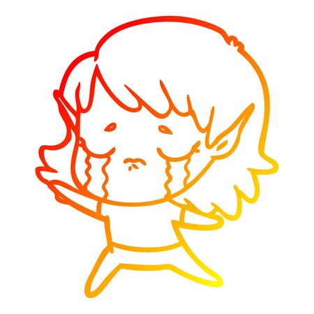 warm gradient line drawing of a cartoon crying elf girl Foto de archivo - 130009848