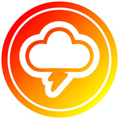storm cloud circular icon with warm gradient finish