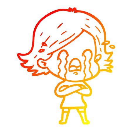 warm gradient line drawing of a cartoon woman crying Foto de archivo - 130009856