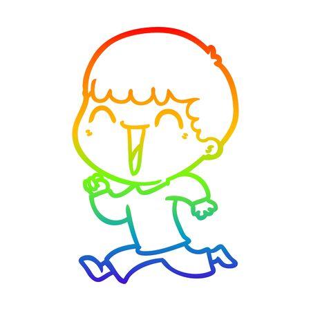 rainbow gradient line drawing of a cartoon happy man Иллюстрация