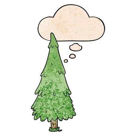 cartoon christmas tree with thought bubble in grunge texture style Иллюстрация