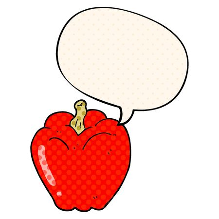 cartoon pepper with speech bubble in comic book style