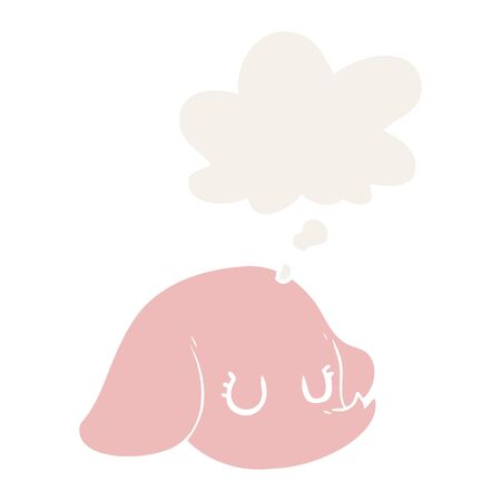 cartoon elephant face with thought bubble in retro style  イラスト・ベクター素材
