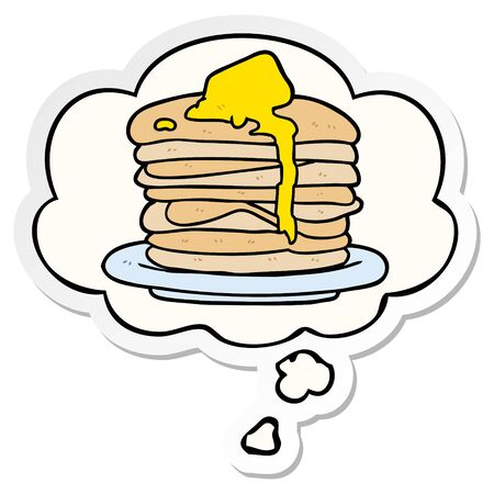 cartoon stack of pancakes with thought bubble as a printed sticker Banco de Imagens - 130009881