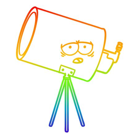 rainbow gradient line drawing of a cartoon bored telescope with face