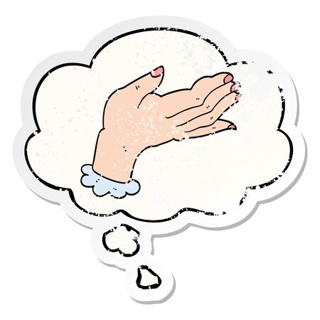cartoon hand with thought bubble as a distressed worn sticker