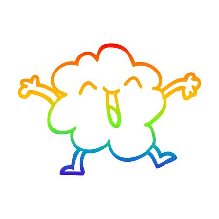 rainbow gradient line drawing of a cartoon expressive weather cloud Illustration