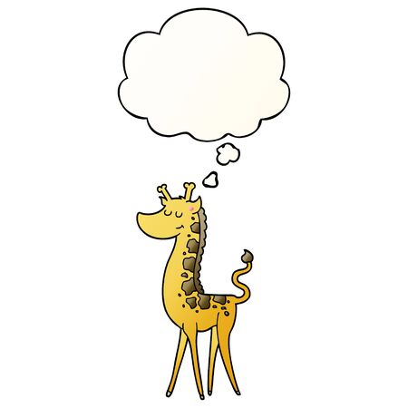 cartoon giraffe with thought bubble in smooth gradient style