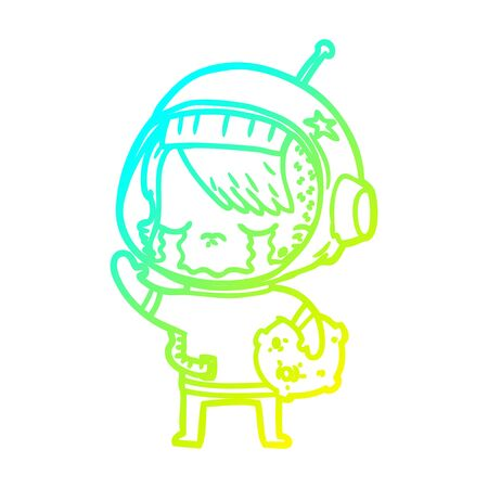 cold gradient line drawing of a cartoon crying astronaut girl carrying rock sample Ilustracja