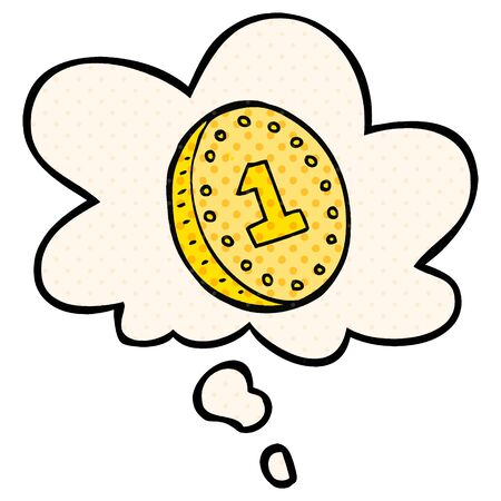 cartoon coin with thought bubble in comic book style