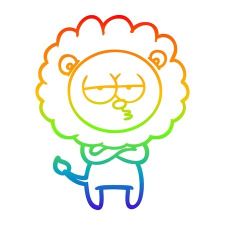 rainbow gradient line drawing of a cartoon tired lion 版權商用圖片 - 130009937