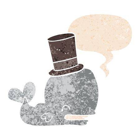 cartoon whale wearing top hat with speech bubble in grunge distressed retro textured style