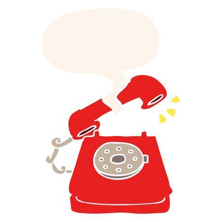 cartoon ringing telephone with speech bubble in retro style 写真素材 - 130010016