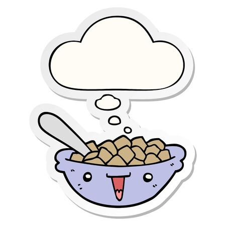 cute cartoon bowl of cereal with thought bubble as a printed sticker