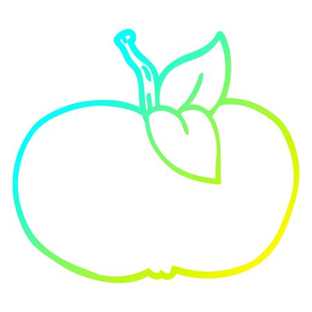 cold gradient line drawing of a cartoon juicy apple