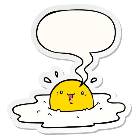 cute cartoon fried egg with speech bubble sticker