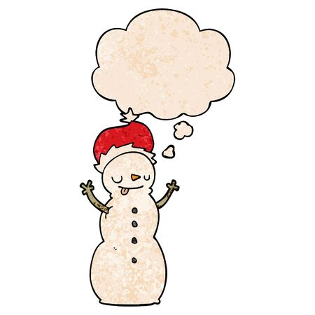 cartoon christmas snowman with thought bubble in grunge texture style Иллюстрация
