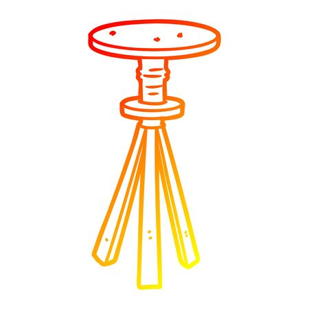 warm gradient line drawing of a cartoon stool  イラスト・ベクター素材