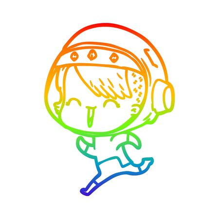 rainbow gradient line drawing of a happy cartoon space girl