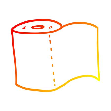 warm gradient line drawing of a cartoon toilet roll