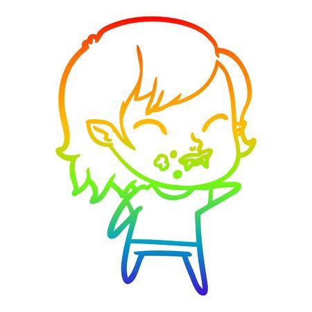 rainbow gradient line drawing of a cartoon vampire girl with blood on cheek Çizim
