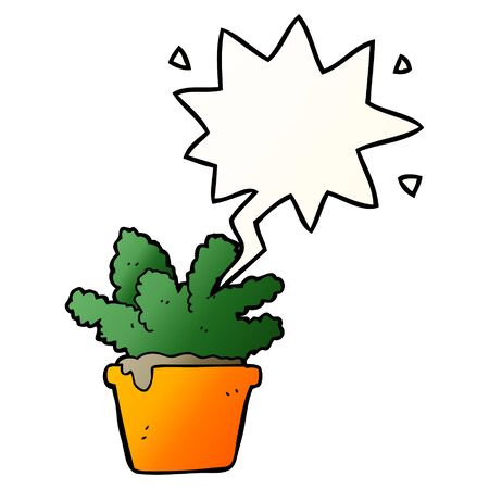 cartoon house plant with speech bubble in smooth gradient style