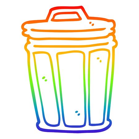 rainbow gradient line drawing of a cartoon trash can