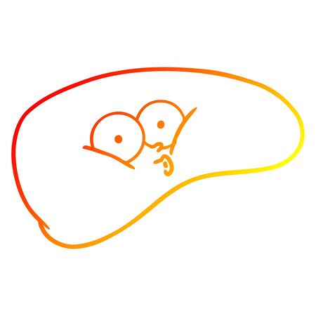 warm gradient line drawing of a cartoon liver