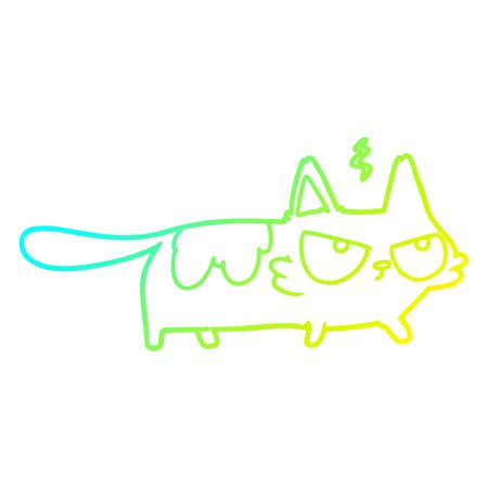 cold gradient line drawing of a cartoon angry cat
