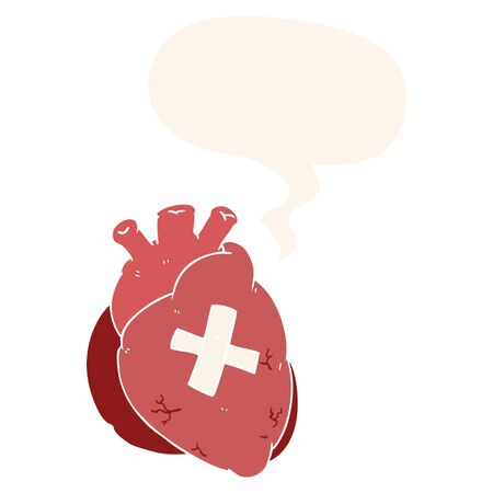 cartoon heart with speech bubble in retro style