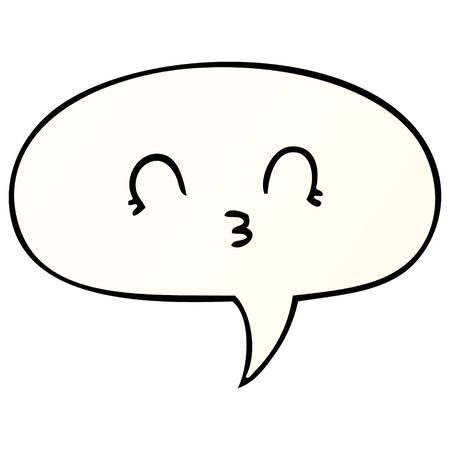 happy cartoon face with speech bubble in smooth gradient style Ilustração