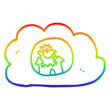 rainbow gradient line drawing of a cartoon god in heaven