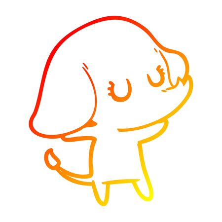 warm gradient line drawing of a cute cartoon elephant