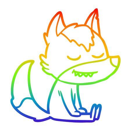 rainbow gradient line drawing of a friendly cartoon wolf sitting down Illustration